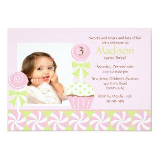 Sweet Cupcake Photo Birthday Invitation