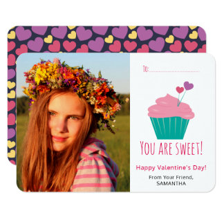 Sweet Cupcake Photo Valentine's Day Card