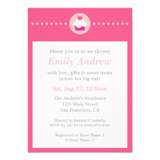 Sweet Cupcake Pink Baby Shower for Mummy to be Personalized Invitations
