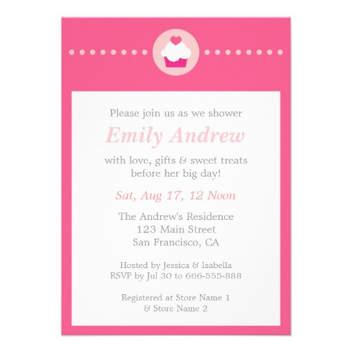 Sweet Cupcake, Pink Baby Shower for Mummy to be Personalized Invitations