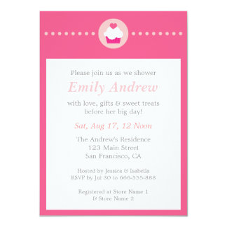 Sweet Cupcake, Pink Baby Shower for Mummy to be 11 Cm X 16 Cm Invitation Card