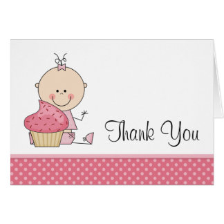 Sweet Cupcake Pink Polka Dot Baby Girl Thank You Card
