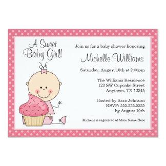 Sweet Cupcake Pink Polka Dot Girl Baby Shower 11 Cm X 16 Cm Invitation Card