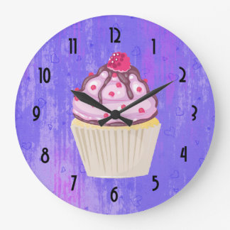 Sweet Cupcake with Raspberry on Top Large Clock