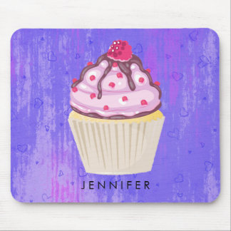 Sweet Cupcake with Raspberry on Top Mouse Pad