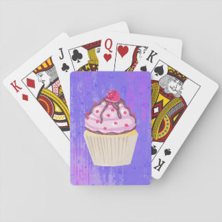 Sweet Cupcake with Raspberry on Top Playing Cards