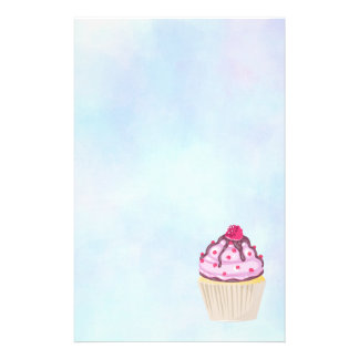 Sweet Cupcake with Raspberry on Top Stationery