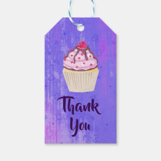 Sweet Cupcake with Raspberry on Top Thank You Gift Tags