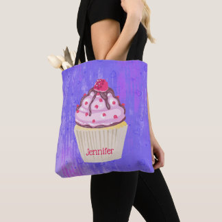 Sweet Cupcake with Raspberry on Top Tote Bag