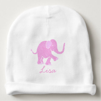 Sweet Customizable Pink Joyful Baby Elephant Baby Beanie