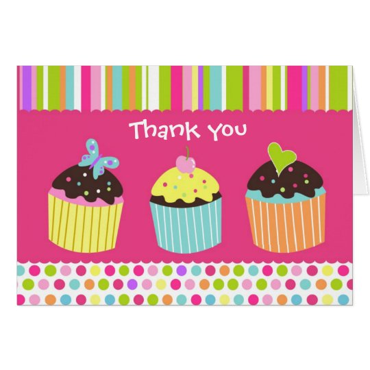 Sweet Cute Cupcake Folded  Thank You Note Card