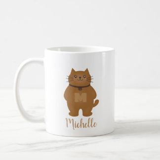 Sweet Cute Kitty Cat Lover Monogram Add Your Name Coffee Mug