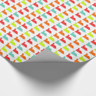 Sweet Cute red, orange, green, teal Dinosaurs Wrapping Paper