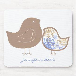 Sweet Damask Chicks Blue Pattern Custom Mousepad