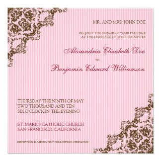 Sweet Damask Corners Pink Wedding Invitation