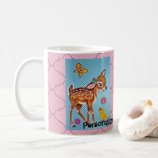 Sweet Deer Fawn Duckling Pink Blue Mug Personalize