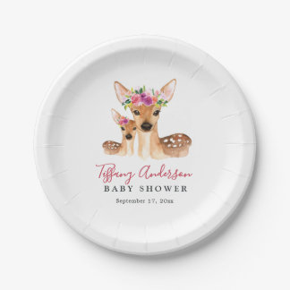 Sweet Deer Mom And Baby Floral Baby Shower Plate