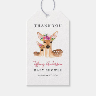 Sweet Deer Mom And Baby Floral Baby Shower Tags