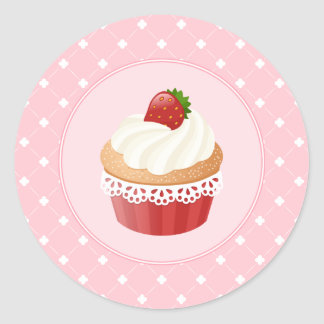 Sweet Delicious Strawberry Cupcake Round Sticker