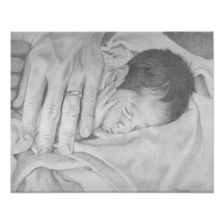 Sweet Dreams Baby Black and White Poster