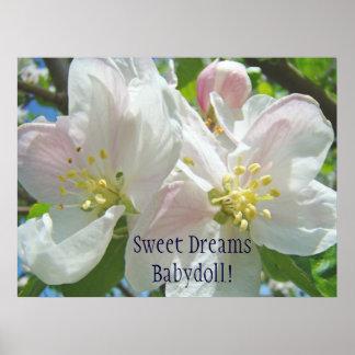 Sweet Dreams Babydoll! Baby Girl's Room art Floral Posters