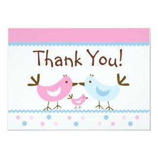 Sweet Dreams Birdie Family Thank You Card 13 Cm X 18 Cm Invitation Card