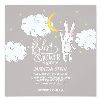 """Sweet Dreams"" Bunny Baby Shower Invitation"