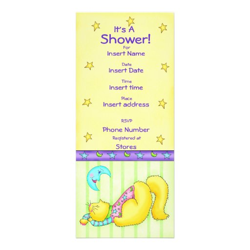Sweet Dreams Cat  Baby Shower Invitation