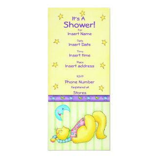"Sweet Dreams Cat  Baby Shower Invitation 4"" X 9.25"" Invitation Card"