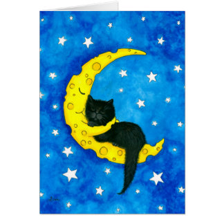 Sweet Dreams Cat on the Moon by Bihrle Card