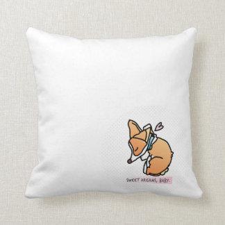 sweet dreams, corgi baby. pastel blue pillow. cushion