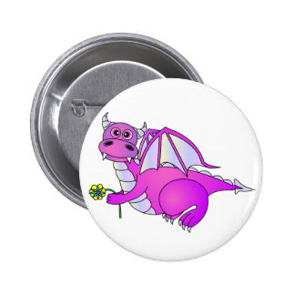 Sweet Dreams - Cute Purple Dragon with Flower Pinback Buttons