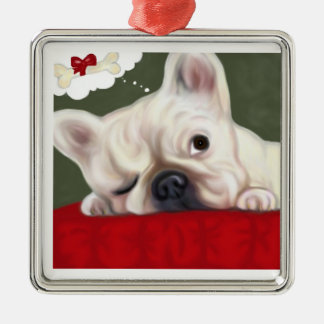 Sweet Dreams French Bulldog Silver-Colored Square Decoration