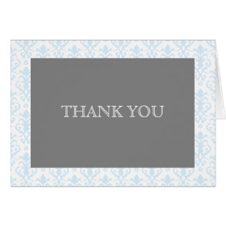 Sweet Dreams in Blue Damask Thank You Note Note Card