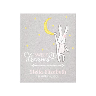 """Sweet Dreams"" Personalized Bunny Nursery Print"