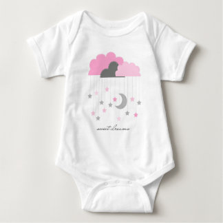 Sweet Dreams Pink and Grey Baby Girl Bodysuit