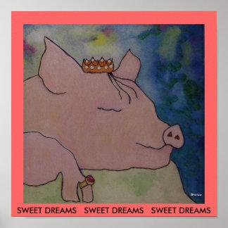 SWEET DREAMS - PRINT - Sleeping Pig