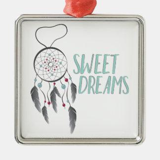 Sweet Dreams Silver-Colored Square Decoration