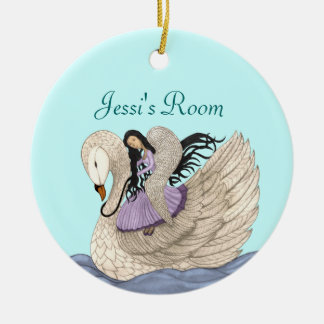 Sweet Dreams(The Angel & The Swan) (Full Colour) Round Ceramic Decoration