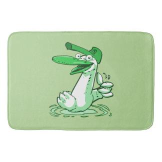 sweet duck on the lake cartoon bath mat