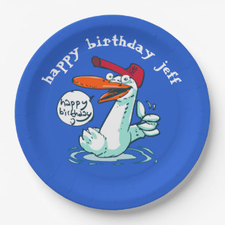 sweet duck on the lake cartoon paper plate