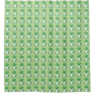 sweet duck on the lake cartoon shower curtain