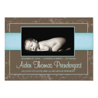 Sweet Elegance - New Baby Annoucement - Boy 13 Cm X 18 Cm Invitation Card