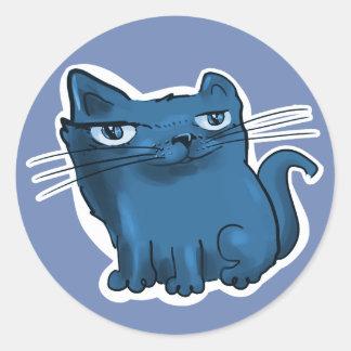 sweet elegant kitty cartoon blue tint classic round sticker