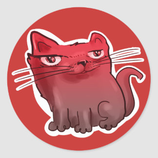 sweet elegant kitty cartoon red tint classic round sticker