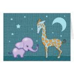Sweet Elephant and Giraffe Greeting Card