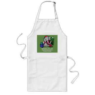Sweet Elephant with Santa Hat and Christmas Tree Long Apron