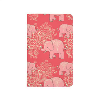Sweet elephants notebook, cute coral and peach journal
