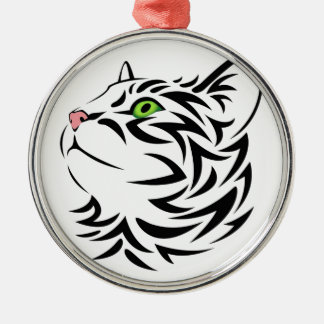 Sweet Face Kitty Cat Silver-Colored Round Decoration