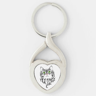 Sweet Face Kitty Metal Keychain Silver-Colored Twisted Heart Key Ring